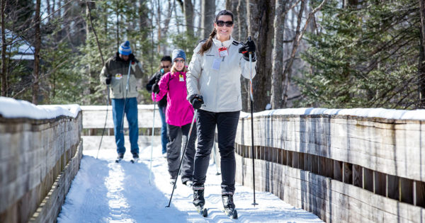 group of four cross country skiers at Treetops Ski Resort