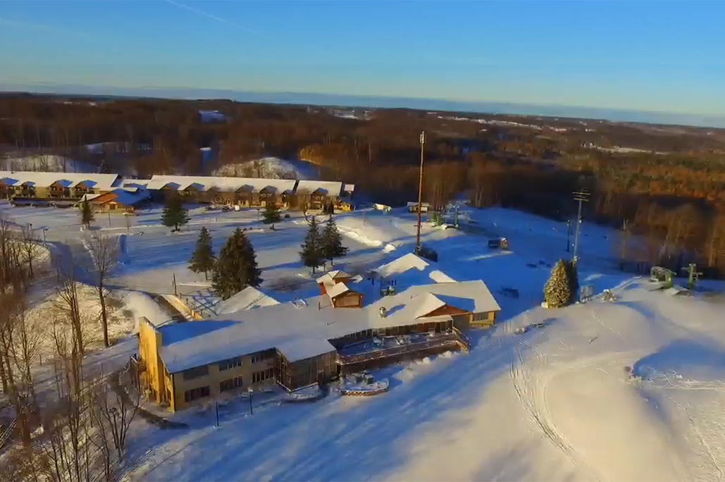 Ariel view of Treetops Resort on a sunny winter day