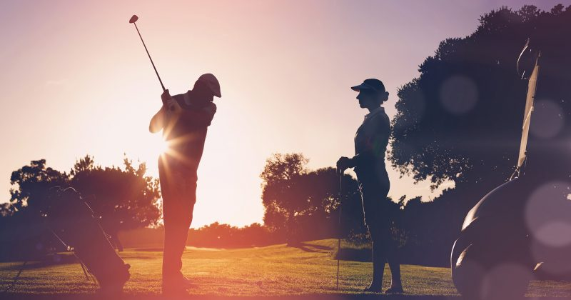 golfing at sunrise or sunset in Gaylord, Michigan