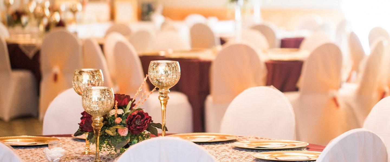 Large room set for wedding reception