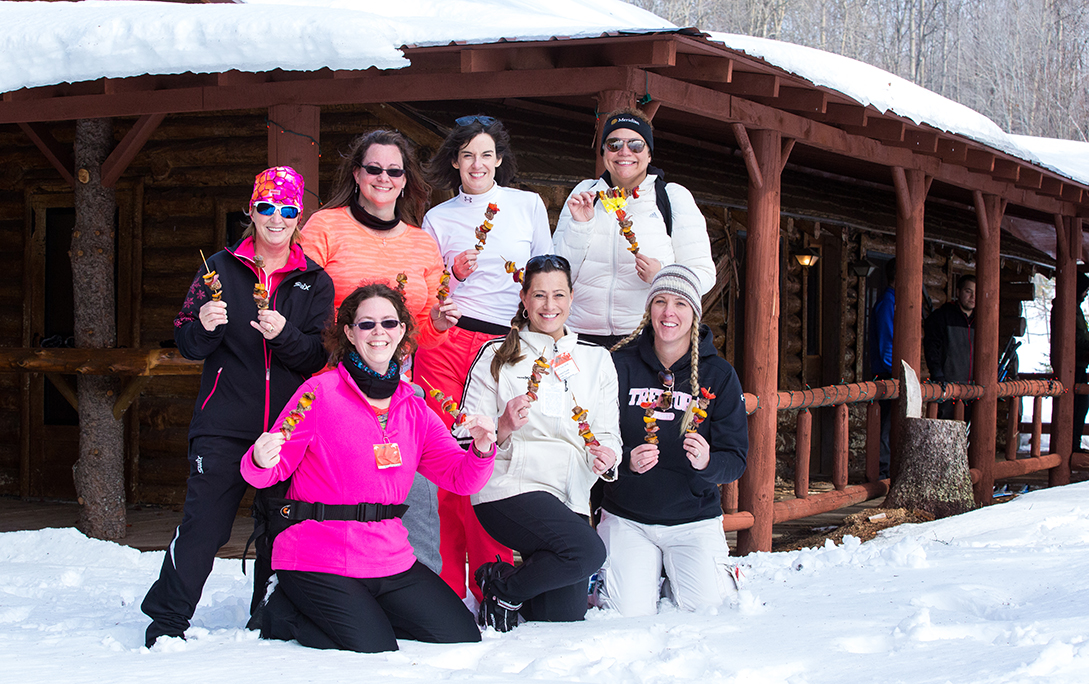Group of women at skiable feast.