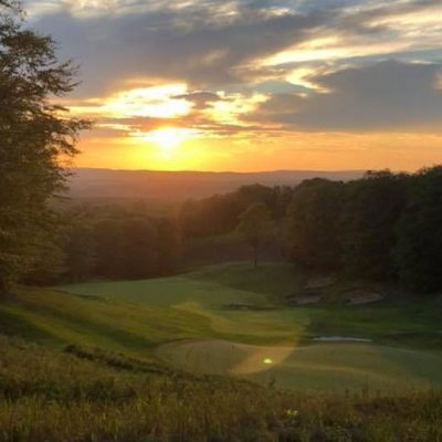 Sunset over golf course