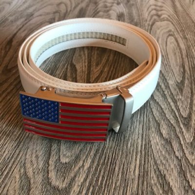 White with American Flag Buckle