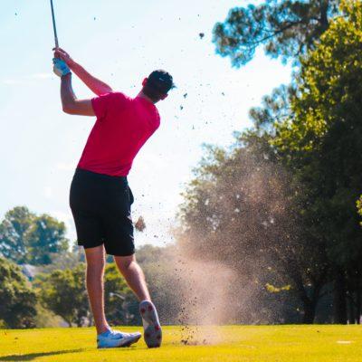 male golfer swinging