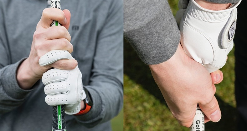 Two side-by-side photos illustrating what the hands look like from two angles when the interlocking grip is employed.