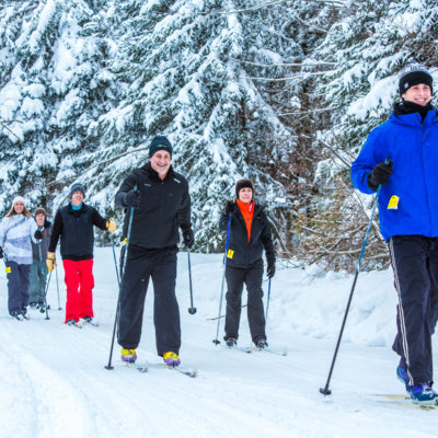 Group of people cross country skiing through the winter forest