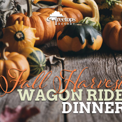 Gourds and pumpkins sit on a wooden table, overlaid with Fall Harvest Wagon Ride Dinner and the Treetops logo.